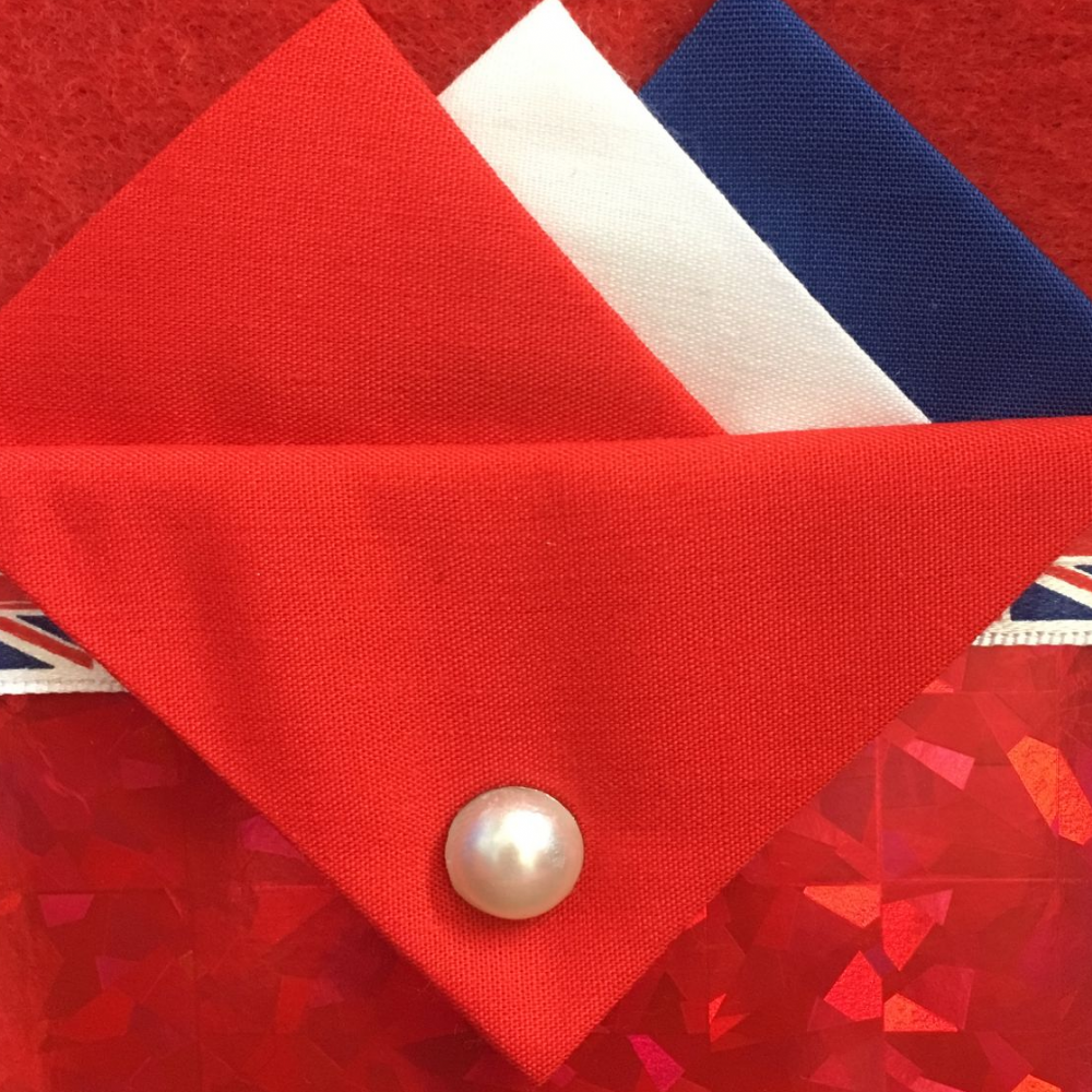 Red, White and Blue Hankie With Red Flap and Pin